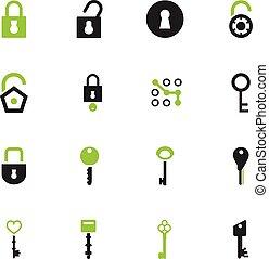 Lock and Key icons set