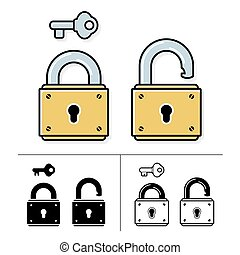 Lock and key - vector icon set - Lock and key padlock symbol...