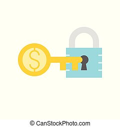 lock and money gold key, key of success concept icon