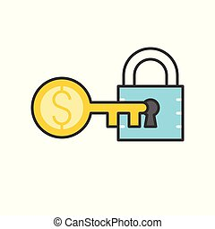 lock and money gold key, key of success concept icon, editable stroke outline