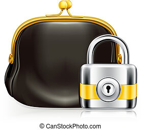 Lock and purse, vector icon