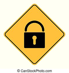 Lock and road sign