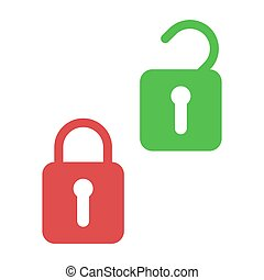 Lock and unlock. Icons of open and closed padlock. Security with key or password. Lock for door or safe. Symbol safety, privacy and secret. Protection in web, internet. Secure code of login. Vector.
