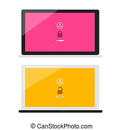 Lock and Unlock with Password Symbols on Notebook Screens. Vector Laptops Isolated on White Background.