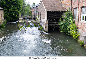 Lock and water wheel of an old mill