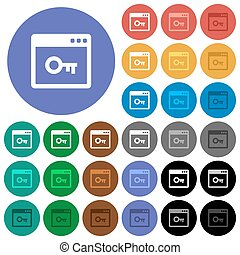 Lock application round flat multi colored icons