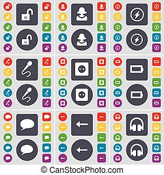 Lock, Avatar, Flash, Microphone, Socket, Battery, Chat bubble, Arrow left, Headphones icon symbol. A large set of flat, colored buttons for your design. Vector