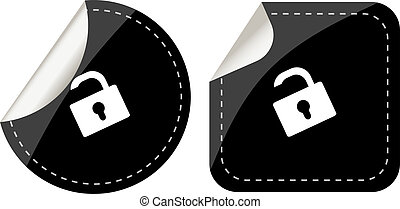 lock black stickers label tag set