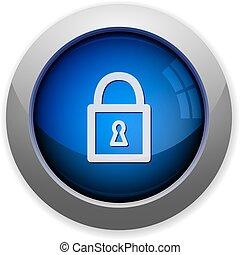 Lock button - Blue glossy lock web button