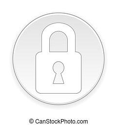 Lock button. - Lock button on white background. Vector...