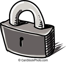 Lock cartoon sketch vector illustration