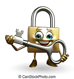 Lock Character with key - Cartoon Character of lock with key