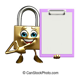 Lock Character with notepad - Cartoon Character of lock with...