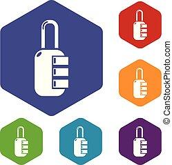 Lock combination icons vector hexahedron - Lock combination...