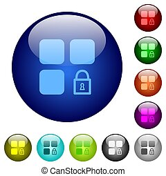 Lock component color glass buttons