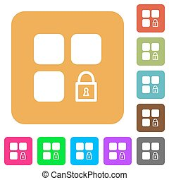 Lock component rounded square flat icons