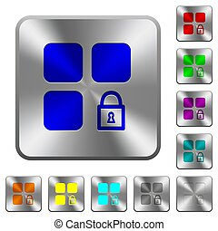 Lock component rounded square steel buttons