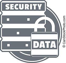 Lock data security logo, simple style