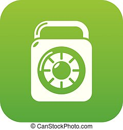 Lock element icon green vector