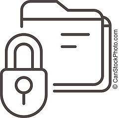 Lock folder icon, outline style