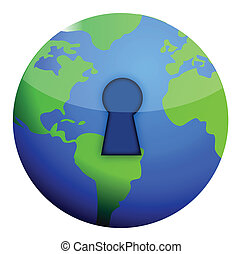lock globe illustration