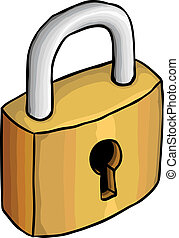 Hand drawn lock, vector illustration