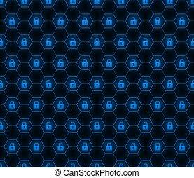 Lock hexagon seamless pattern, security wallpaper, digital data concept.