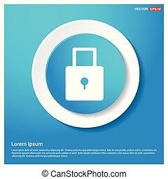 Lock icon Abstract Blue Web Sticker Button