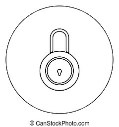 Lock icon black color in circle vector illustration isolated