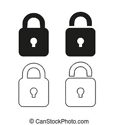 Lock icon, black isolated on white background, vector