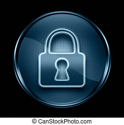 Lock icon dark blue, isolated on black background.
