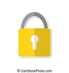 Lock icon flat design in cartoon style, stock vector illustration