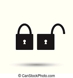 Lock icon. Flat vector illustration. Lock sign symbol with shadow on white background.