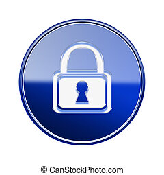 Lock icon glossy blue, isolated on white background