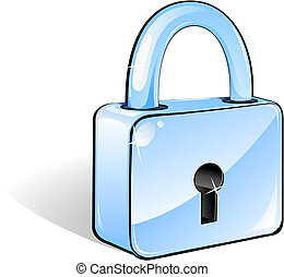 Glossy lock icon for web design or security concept