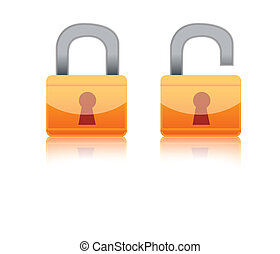 Illustration of to different locks isolated over a white background. one open and one close