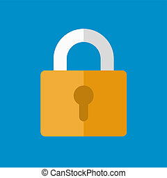 Lock Icon in Flat Design Style. Vector