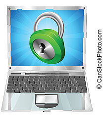 Lock icon laptop concept