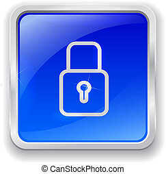 Lock icon on blue button