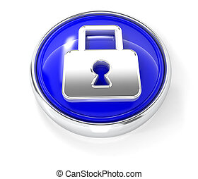 Lock icon on glossy blue round button