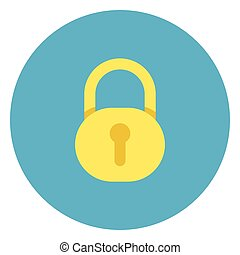 Lock Icon On Round Blue Background