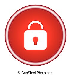Lock icon. Red glossy circle web icon on white background