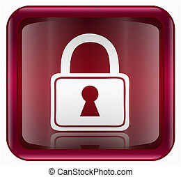 Lock icon red, isolated on white background