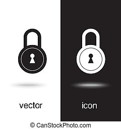 Lock icon vector on black and white background