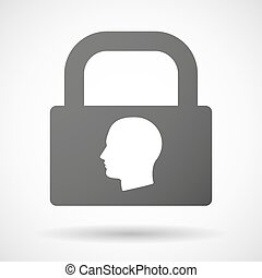 Lock icon with a male head