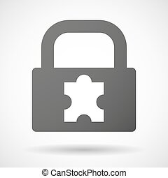 Lock icon with a puzzle piece
