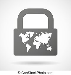 Lock icon with a world map