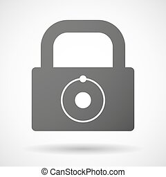 Lock icon with an atom