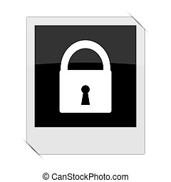 Lock icon within a photo on white background