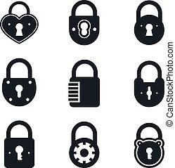 Lock icons. Vector signs or symbol, padlock icon padlocks...
